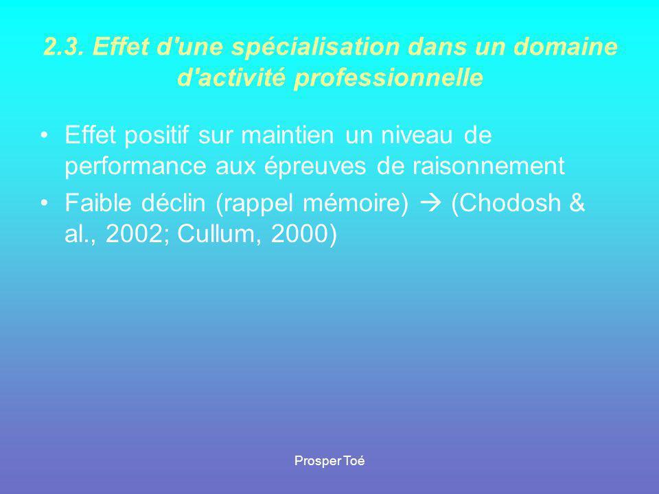 Faible déclin (rappel mémoire)  (Chodosh & al., 2002; Cullum, 2000)