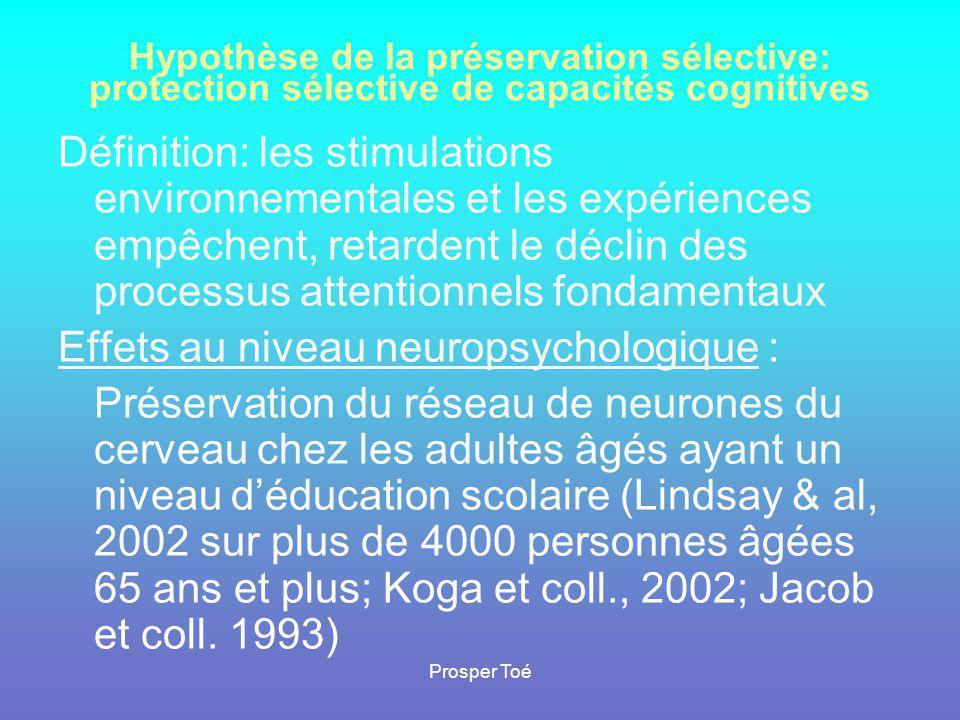 Effets au niveau neuropsychologique :