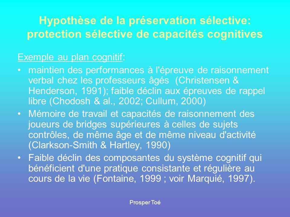 Hypothèse de la préservation sélective: protection sélective de capacités cognitives