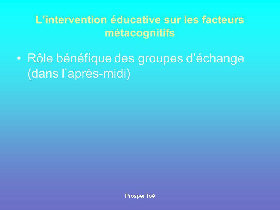 L'intervention éducative sur les facteurs métacognitifs