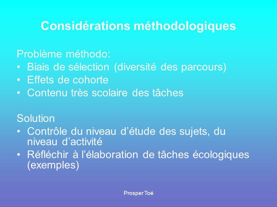 Considérations méthodologiques