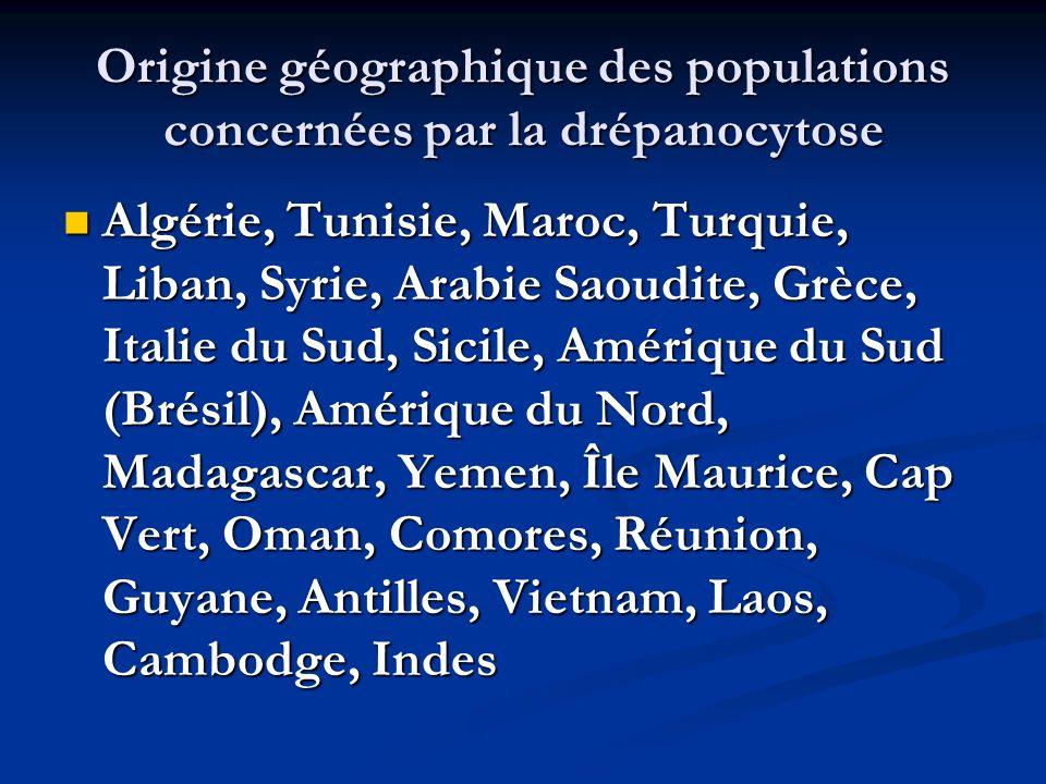 Origine géographique des populations concernées par la drépanocytose