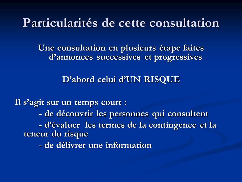 Particularités de cette consultation