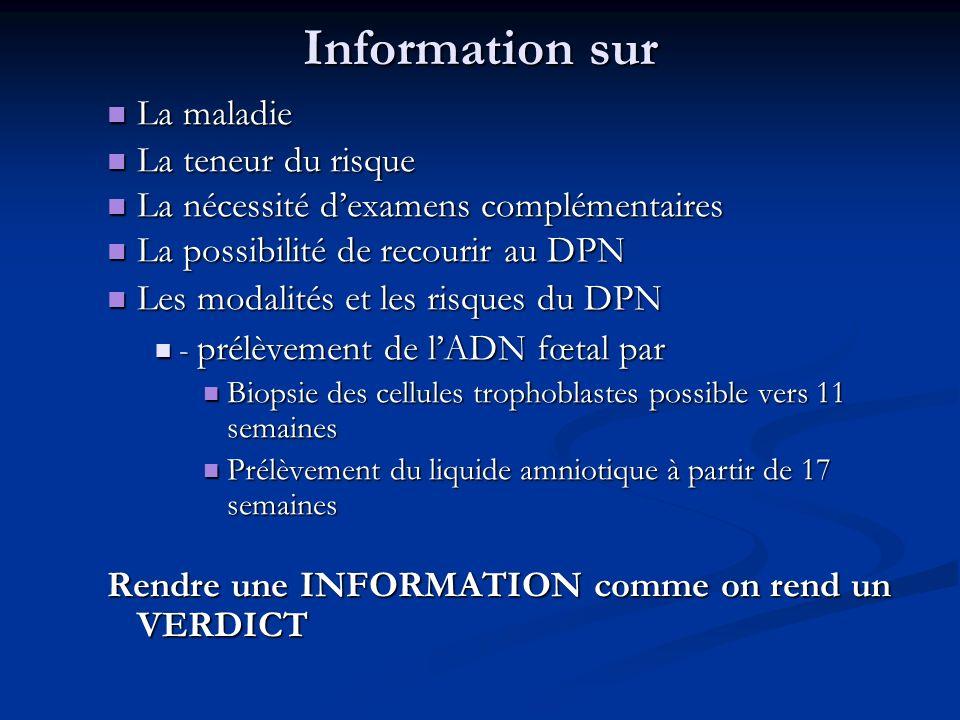 Information sur La maladie La teneur du risque