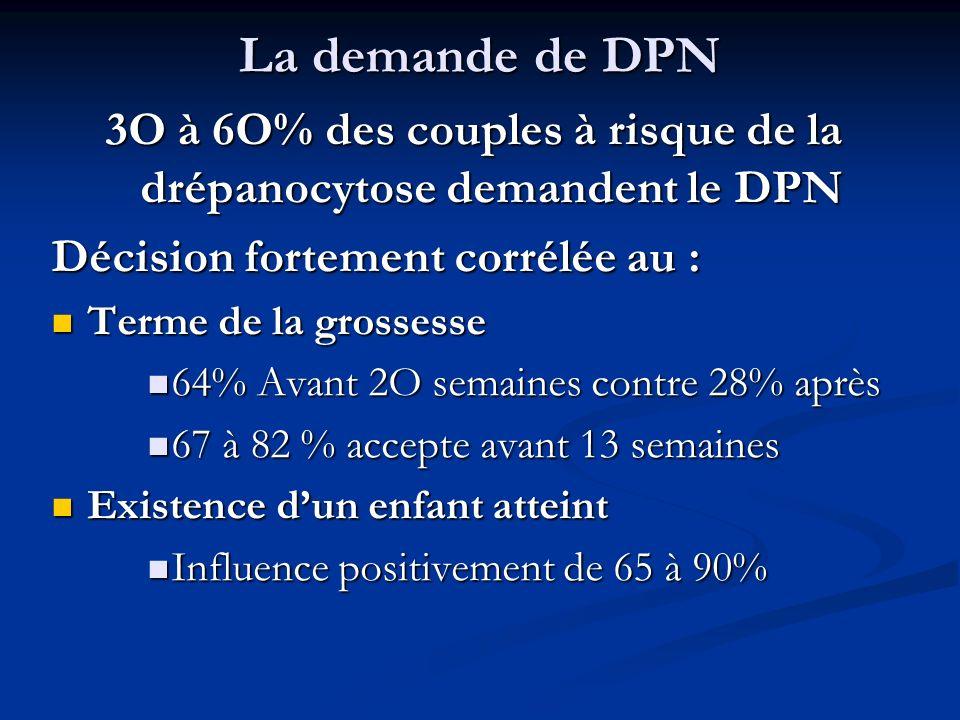 3O à 6O% des couples à risque de la drépanocytose demandent le DPN