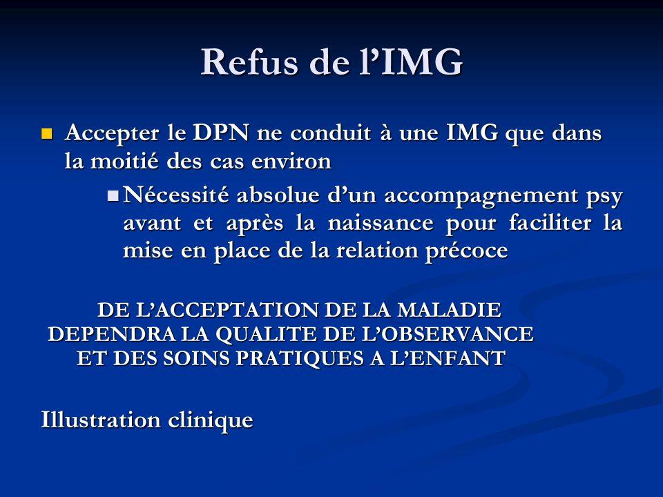 Refus de l'IMG Accepter le DPN ne conduit à une IMG que dans la moitié des cas environ.