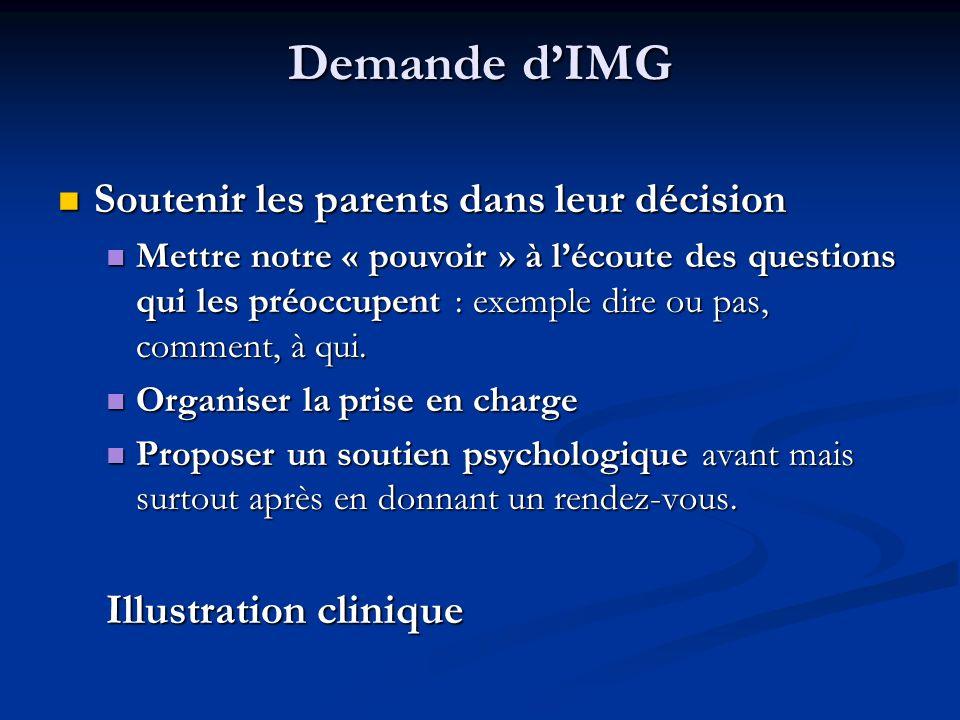 Demande d'IMG Soutenir les parents dans leur décision