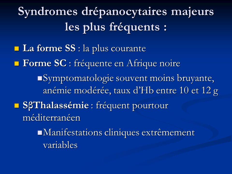 Syndromes drépanocytaires majeurs les plus fréquents :