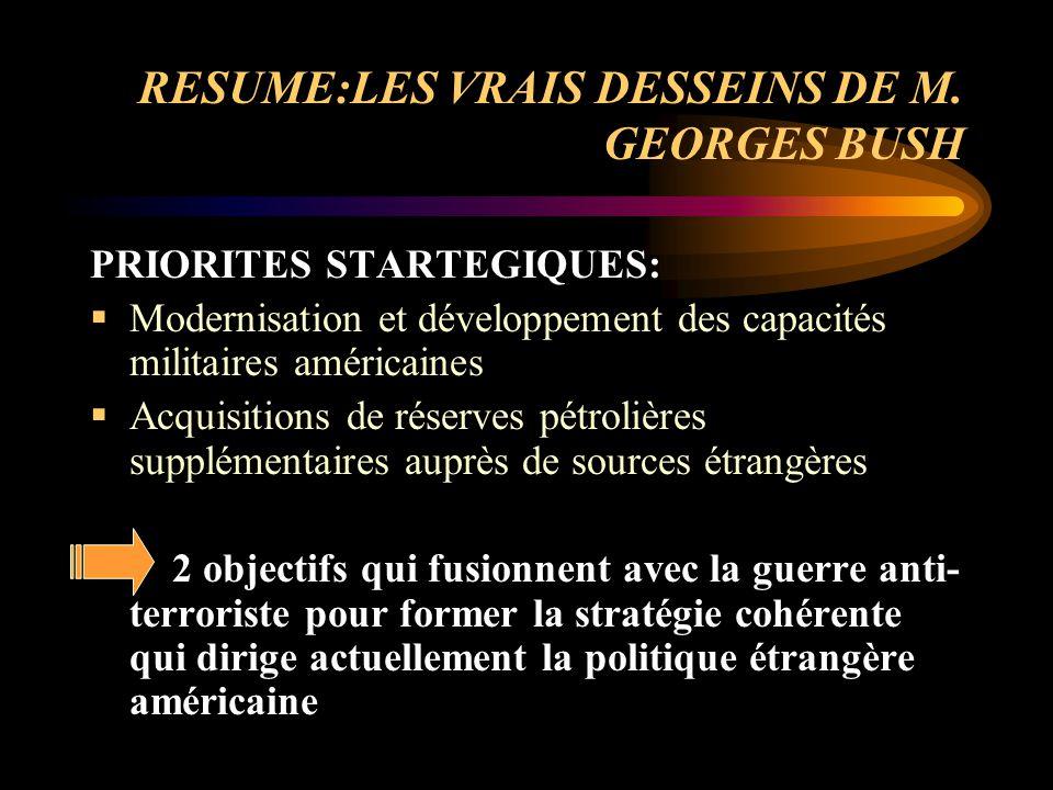 RESUME:LES VRAIS DESSEINS DE M. GEORGES BUSH