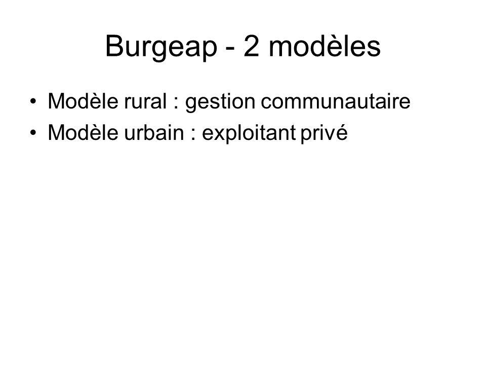 Burgeap - 2 modèles Modèle rural : gestion communautaire
