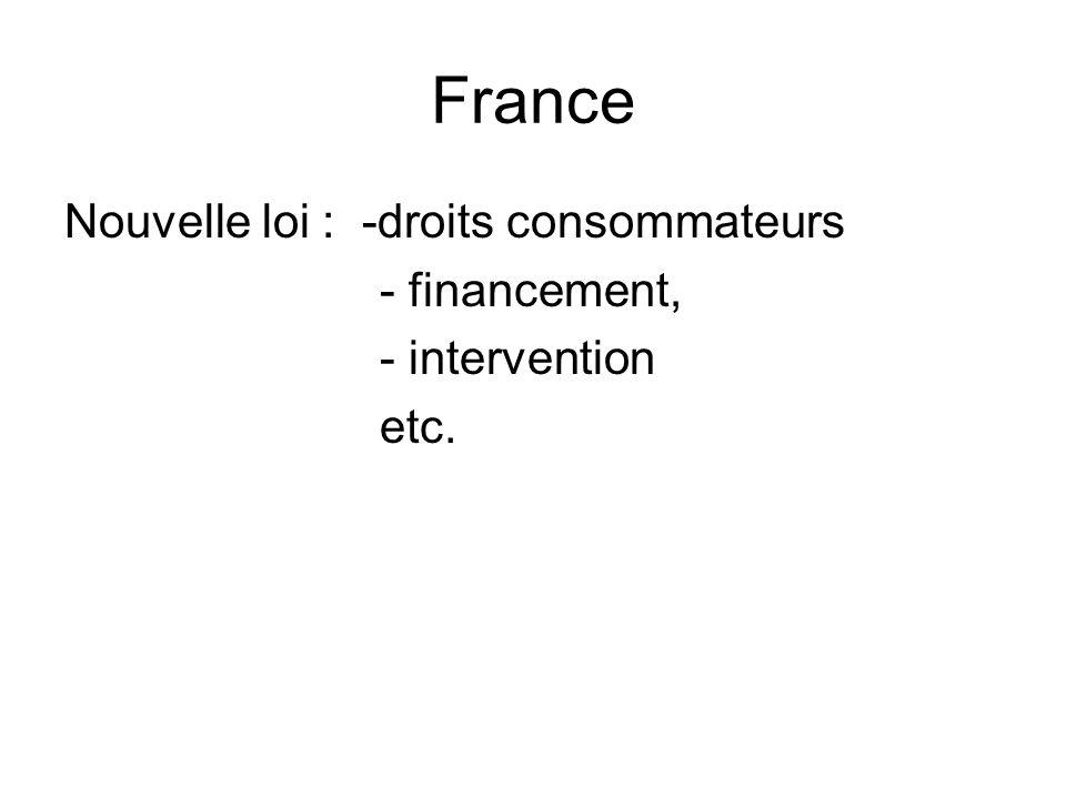 France Nouvelle loi : -droits consommateurs - financement,