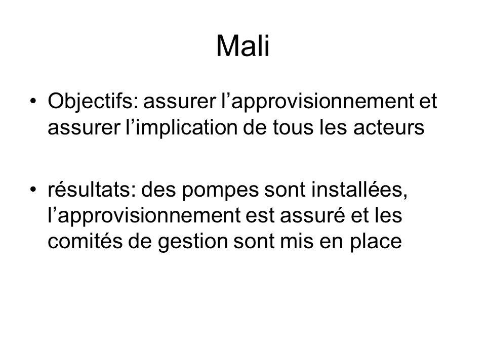 Mali Objectifs: assurer l'approvisionnement et assurer l'implication de tous les acteurs.