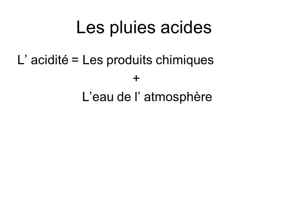 Les pluies acides L' acidité = Les produits chimiques +