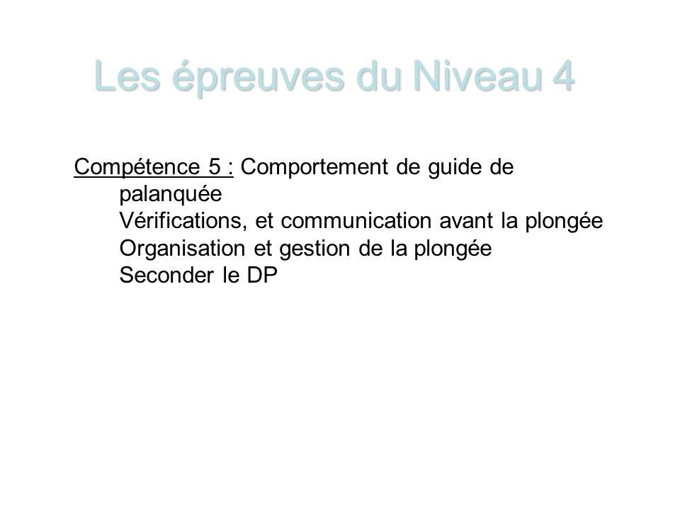 Les épreuves du Niveau 4 Compétence 5 : Comportement de guide de palanquée. Vérifications, et communication avant la plongée.