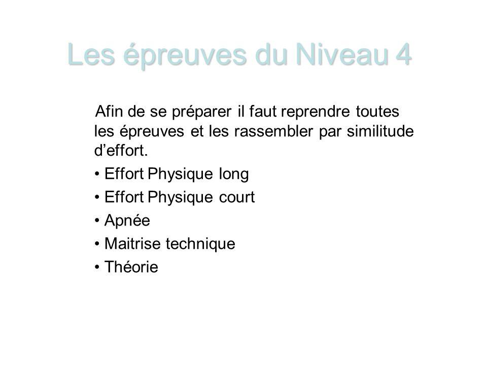 Les épreuves du Niveau 4 Afin de se préparer il faut reprendre toutes les épreuves et les rassembler par similitude d'effort.