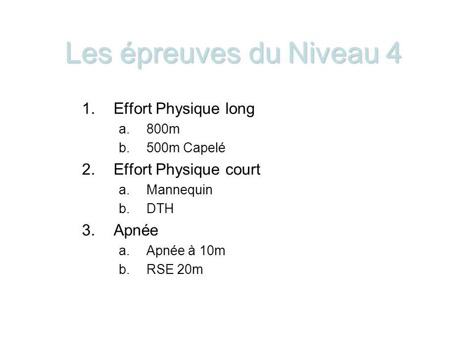 Les épreuves du Niveau 4 Effort Physique long Effort Physique court