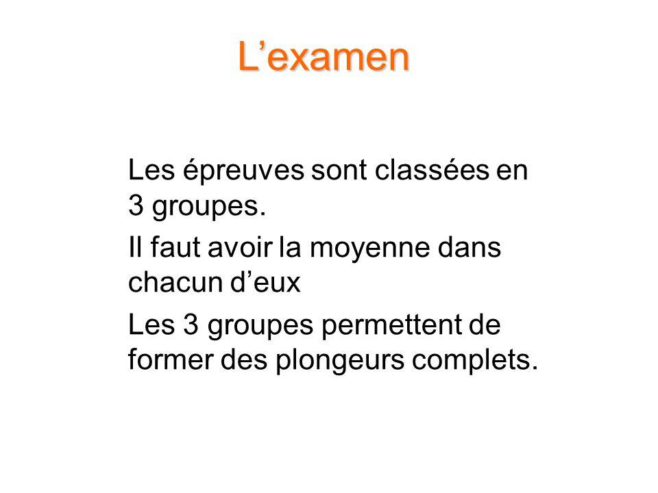 L'examen Les épreuves sont classées en 3 groupes.