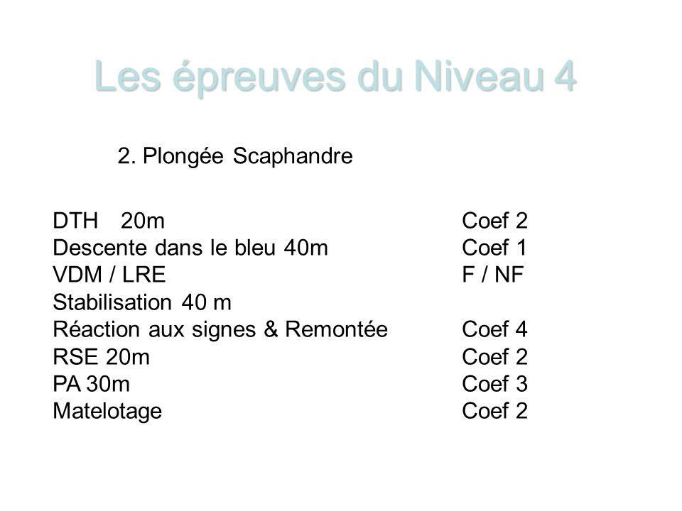 Les épreuves du Niveau 4 2. Plongée Scaphandre DTH 20m Coef 2