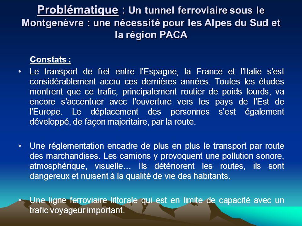 Problématique : Un tunnel ferroviaire sous le Montgenèvre : une nécessité pour les Alpes du Sud et la région PACA