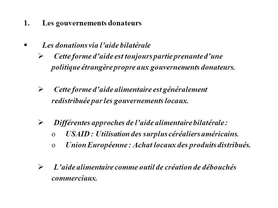 Les gouvernements donateurs