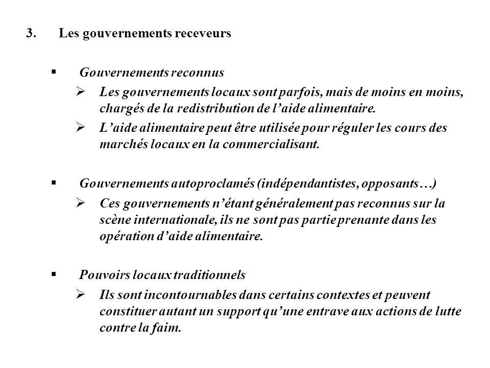Les gouvernements receveurs