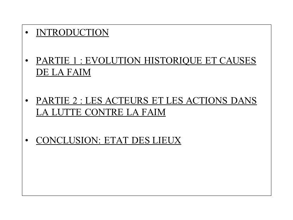 INTRODUCTION PARTIE 1 : EVOLUTION HISTORIQUE ET CAUSES DE LA FAIM. PARTIE 2 : LES ACTEURS ET LES ACTIONS DANS LA LUTTE CONTRE LA FAIM.