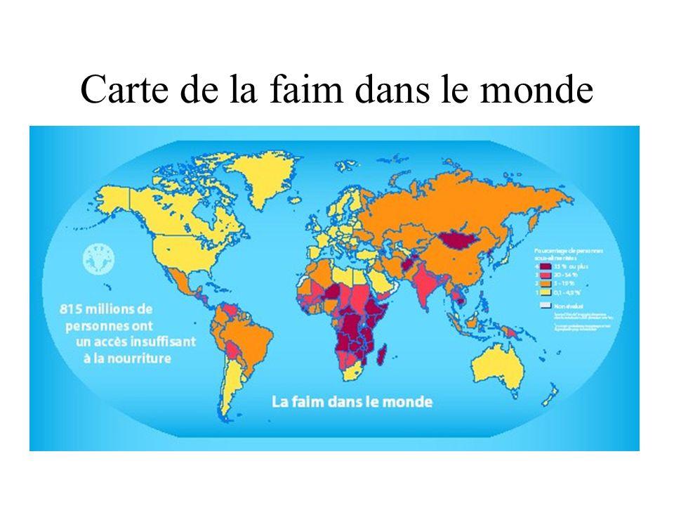 Carte de la faim dans le monde