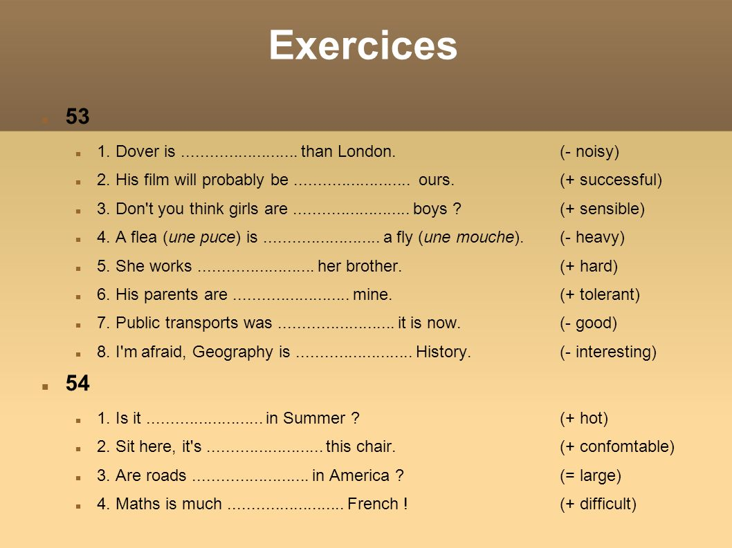 Exercices53. 1. Dover is ......................... than London. (- noisy)‏
