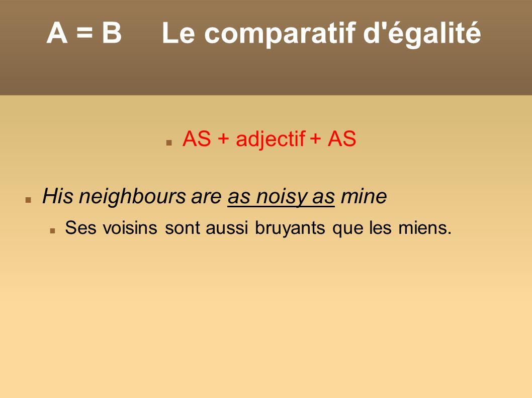 A = B Le comparatif d égalité
