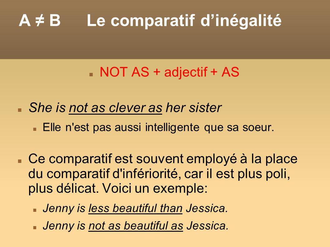 A ≠ B Le comparatif d'inégalité