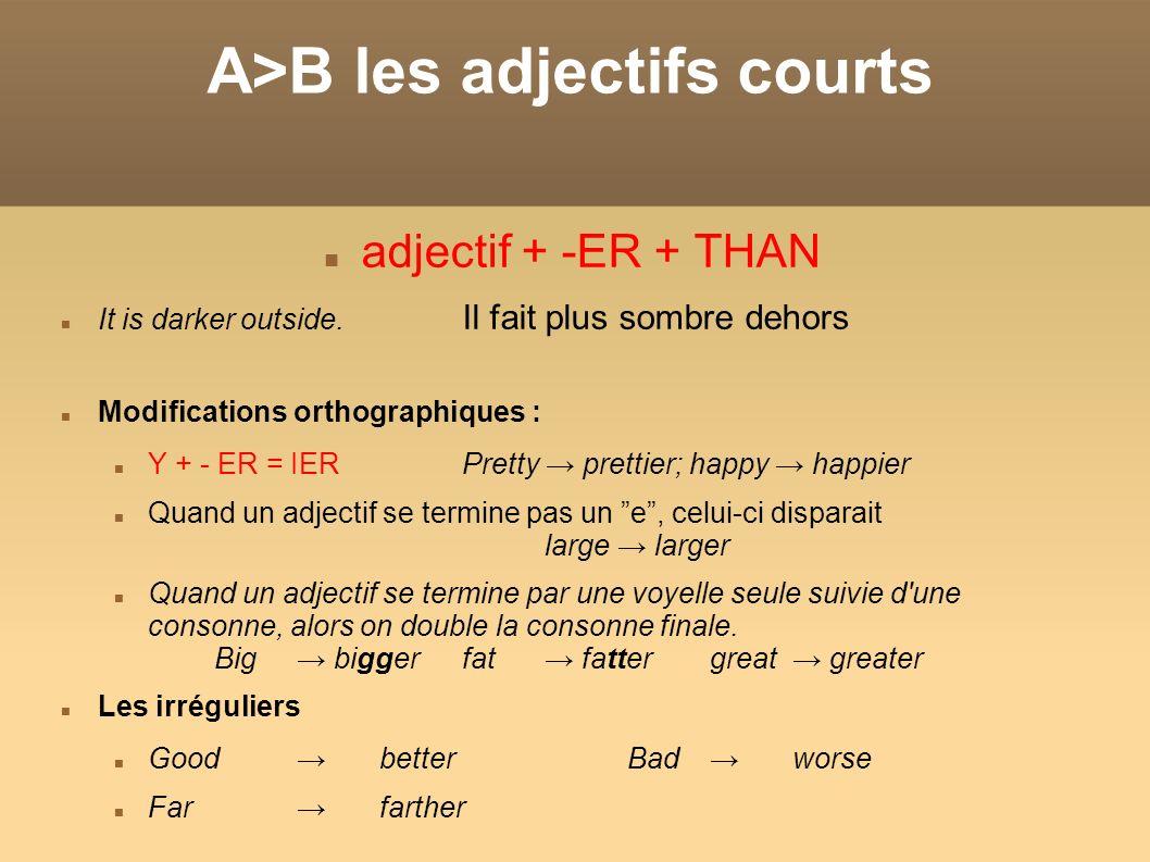 A>B les adjectifs courts