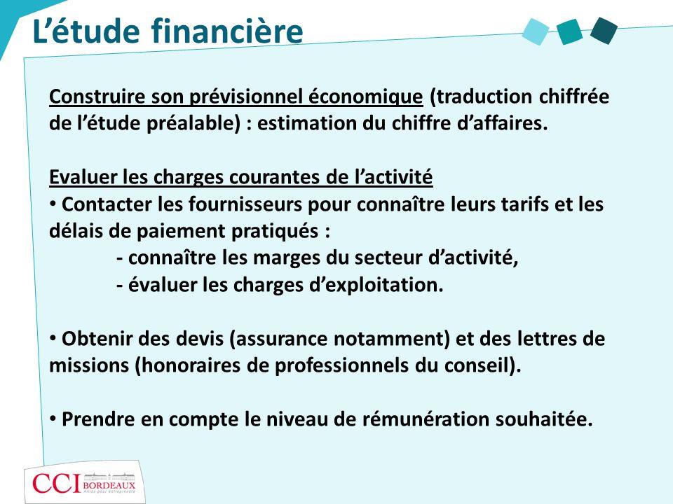 L'étude financièreConstruire son prévisionnel économique (traduction chiffrée de l'étude préalable) : estimation du chiffre d'affaires.