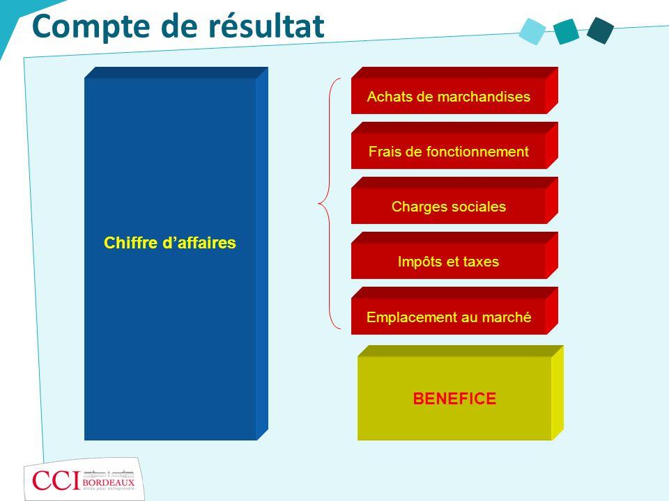 Compte de résultat Chiffre d'affaires BENEFICE Achats de marchandises