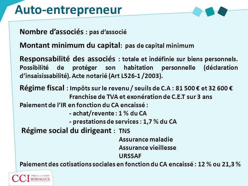 Auto-entrepreneur Nombre d'associés : pas d'associé
