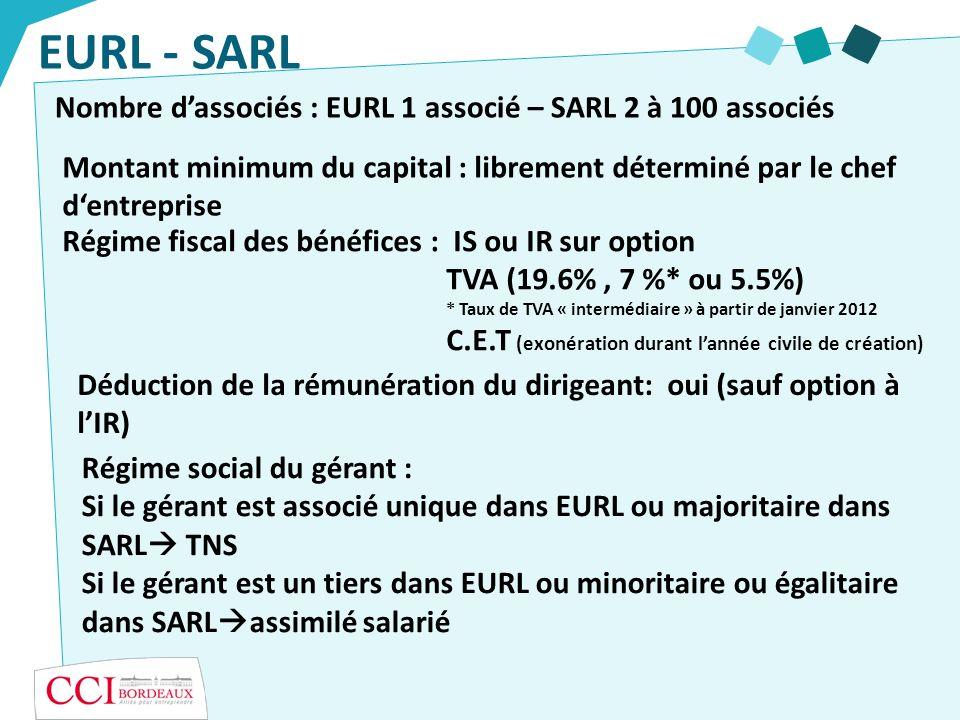 EURL - SARL Nombre d'associés : EURL 1 associé – SARL 2 à 100 associés