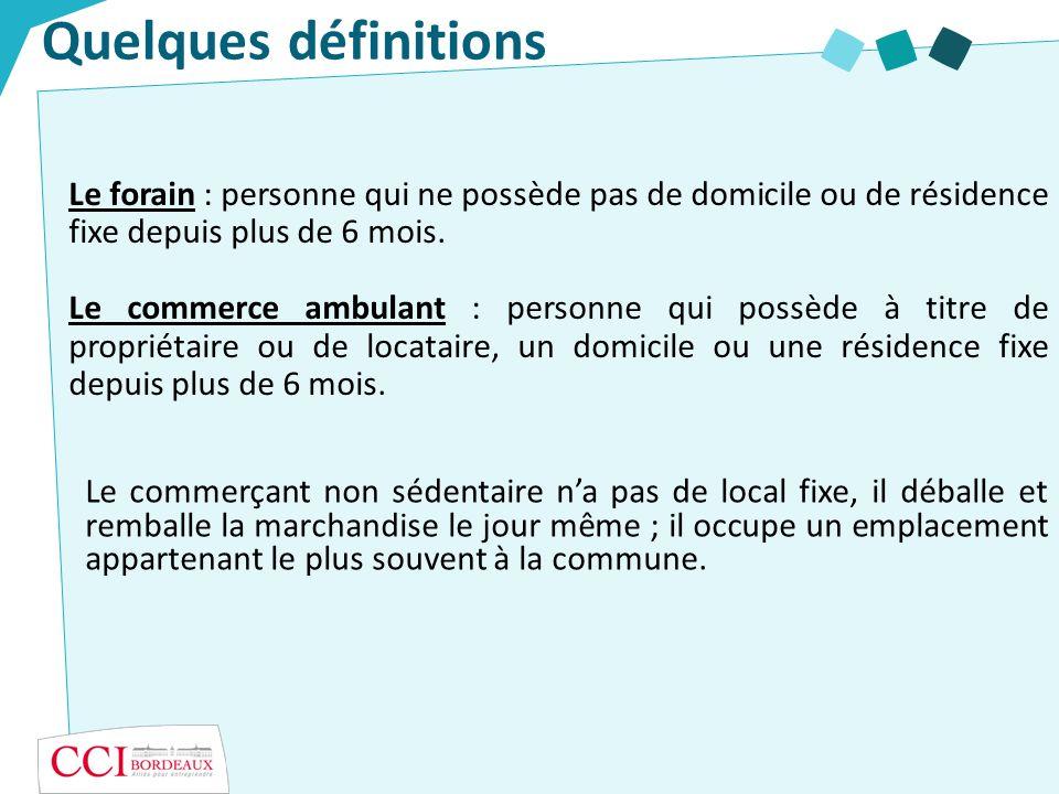 Quelques définitionsLe forain : personne qui ne possède pas de domicile ou de résidence fixe depuis plus de 6 mois.