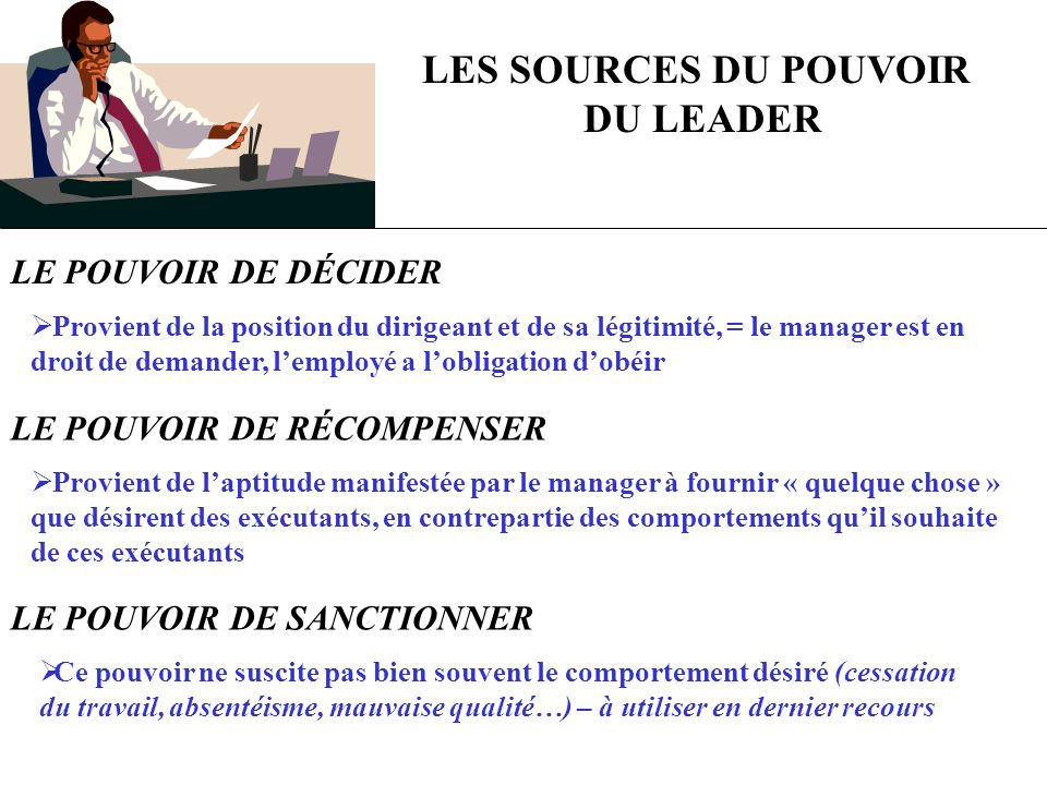LES SOURCES DU POUVOIR DU LEADER