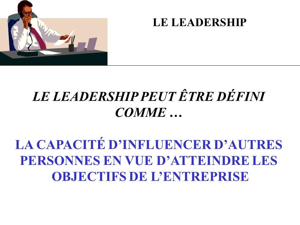 LE LEADERSHIP PEUT ÊTRE DÉFINI COMME …