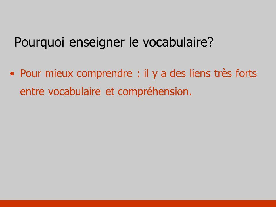 Pourquoi enseigner le vocabulaire