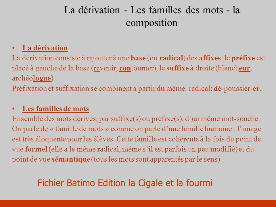La dérivation - Les familles des mots - la composition