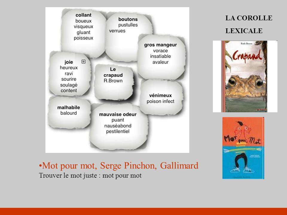 Mot pour mot, Serge Pinchon, Gallimard