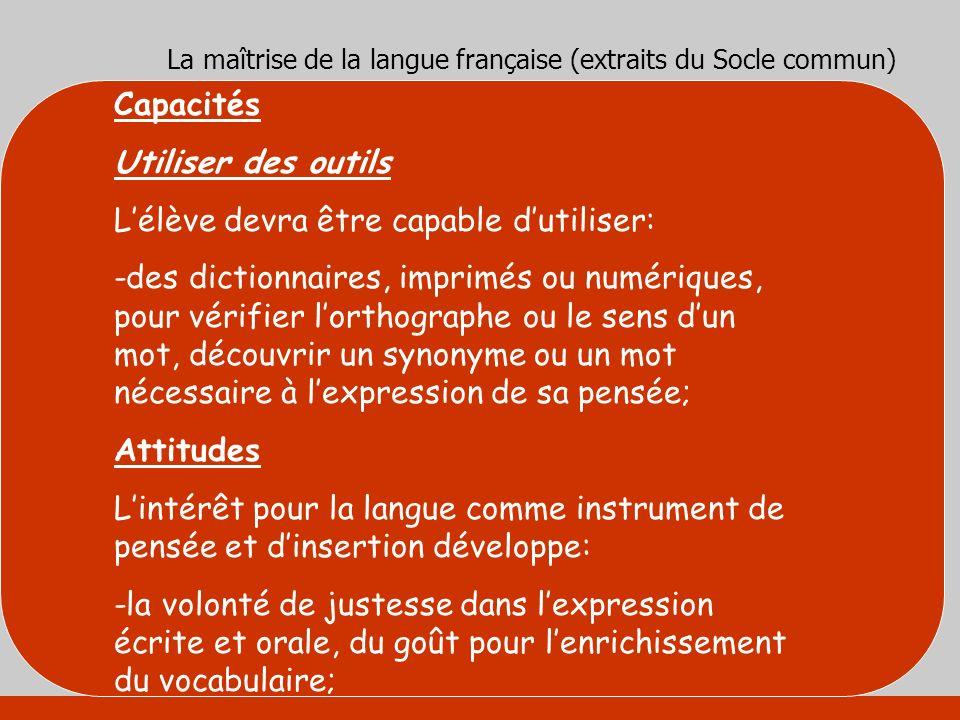 La maîtrise de la langue française (extraits du Socle commun)