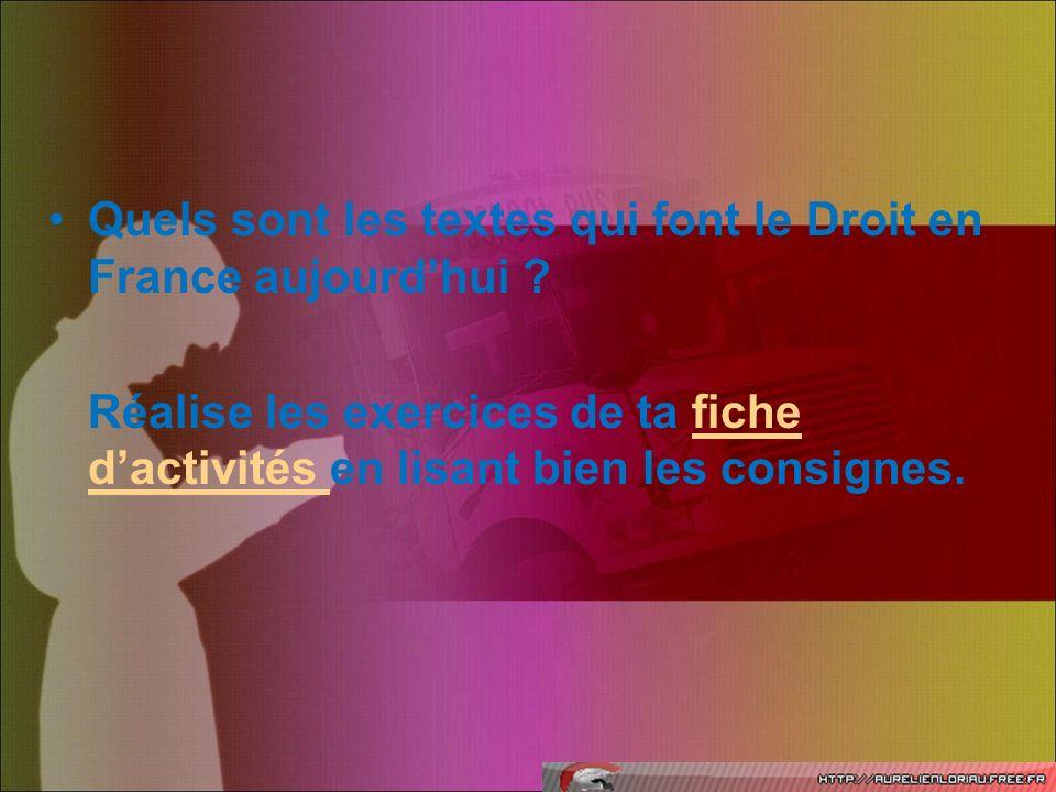Quels sont les textes qui font le Droit en France aujourd'hui