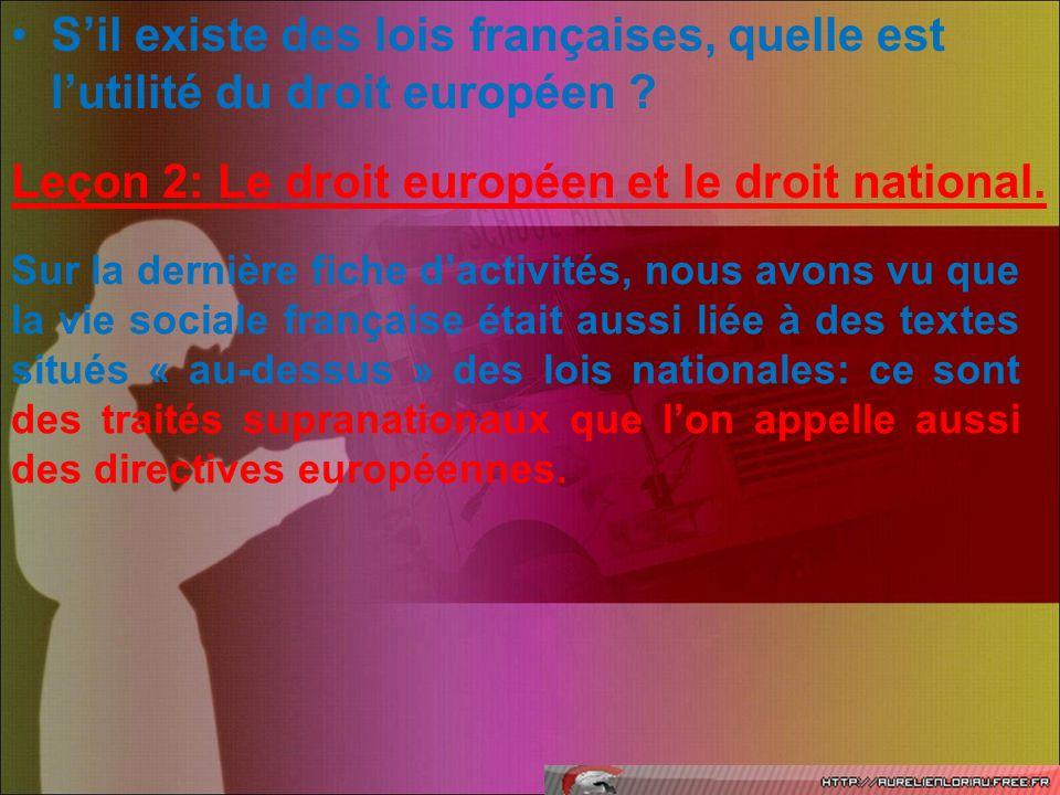 Leçon 2: Le droit européen et le droit national.