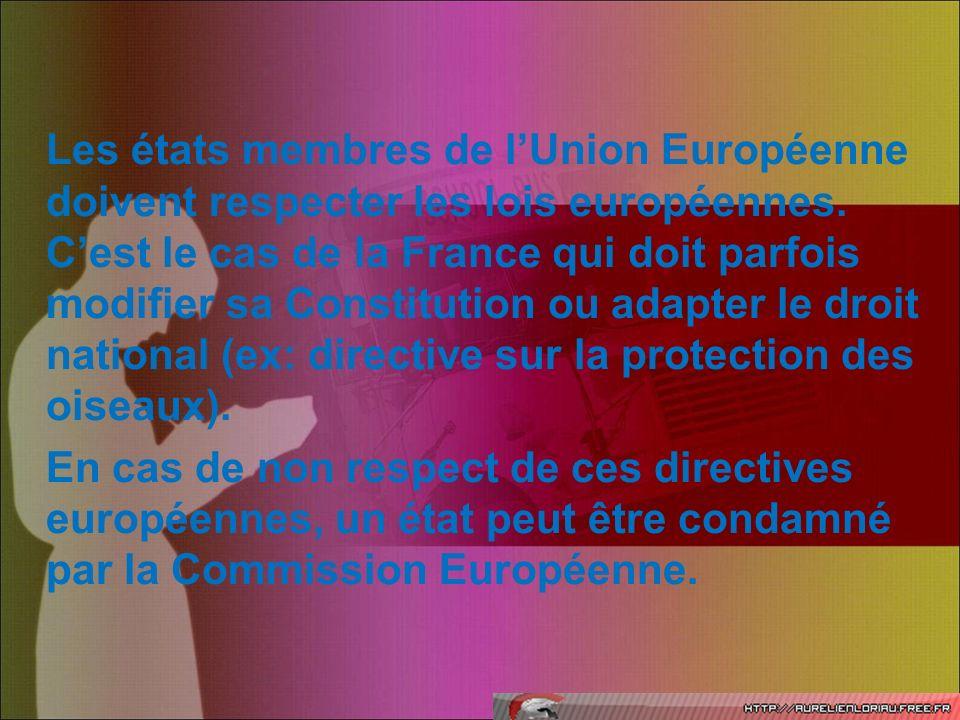 Les états membres de l'Union Européenne doivent respecter les lois européennes.