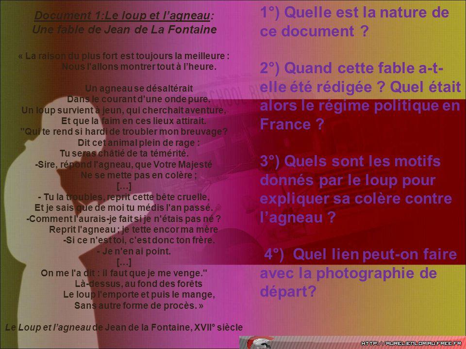 Document 1:Le loup et l'agneau: Une fable de Jean de La Fontaine