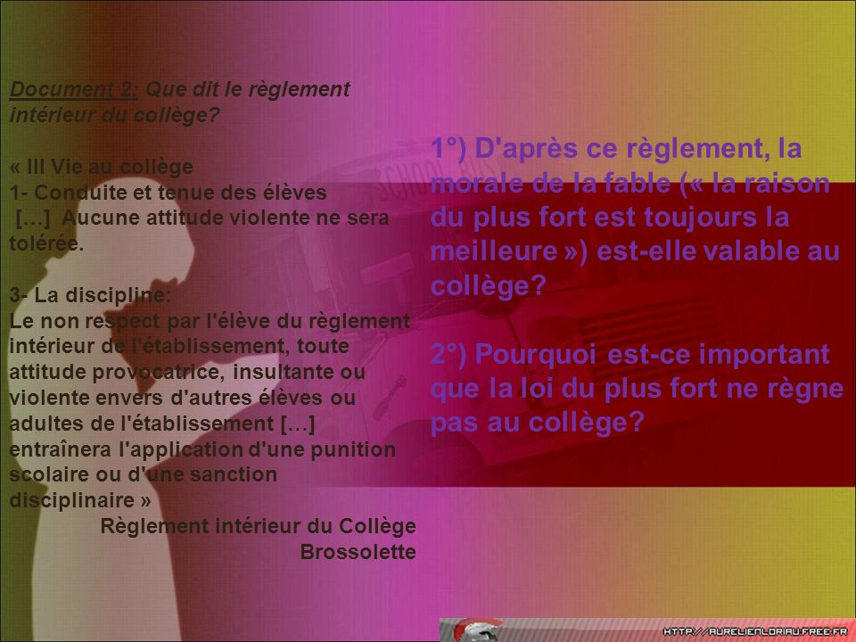Document 2: Que dit le règlement intérieur du collège