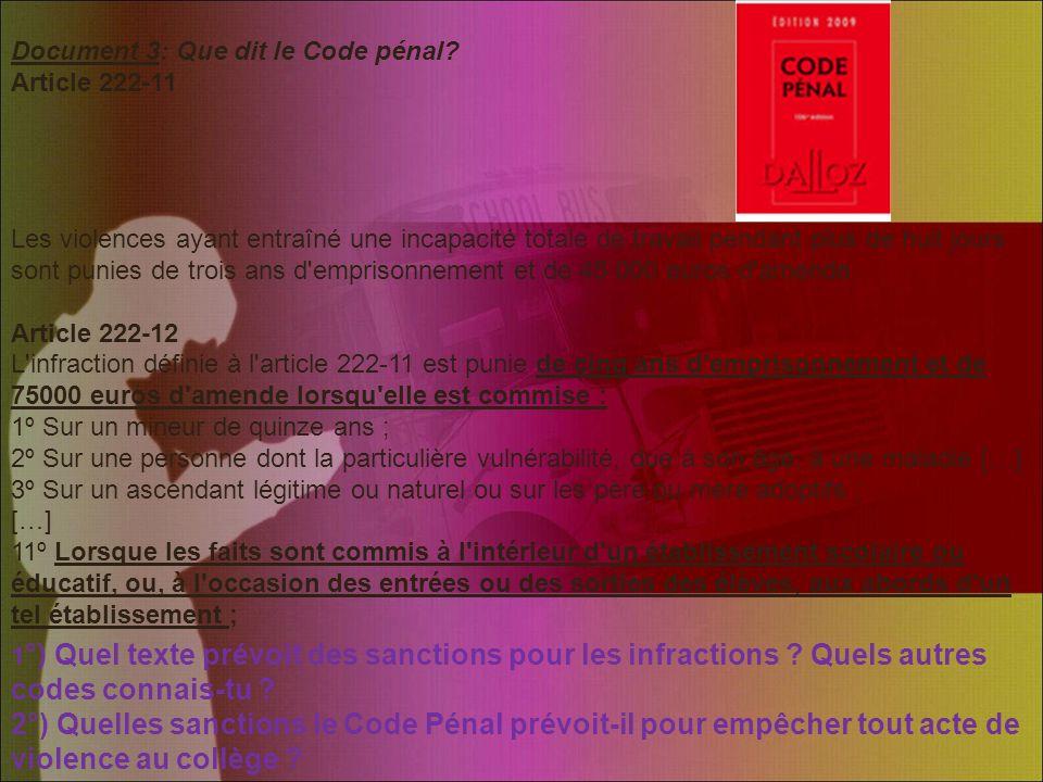 Document 3: Que dit le Code pénal