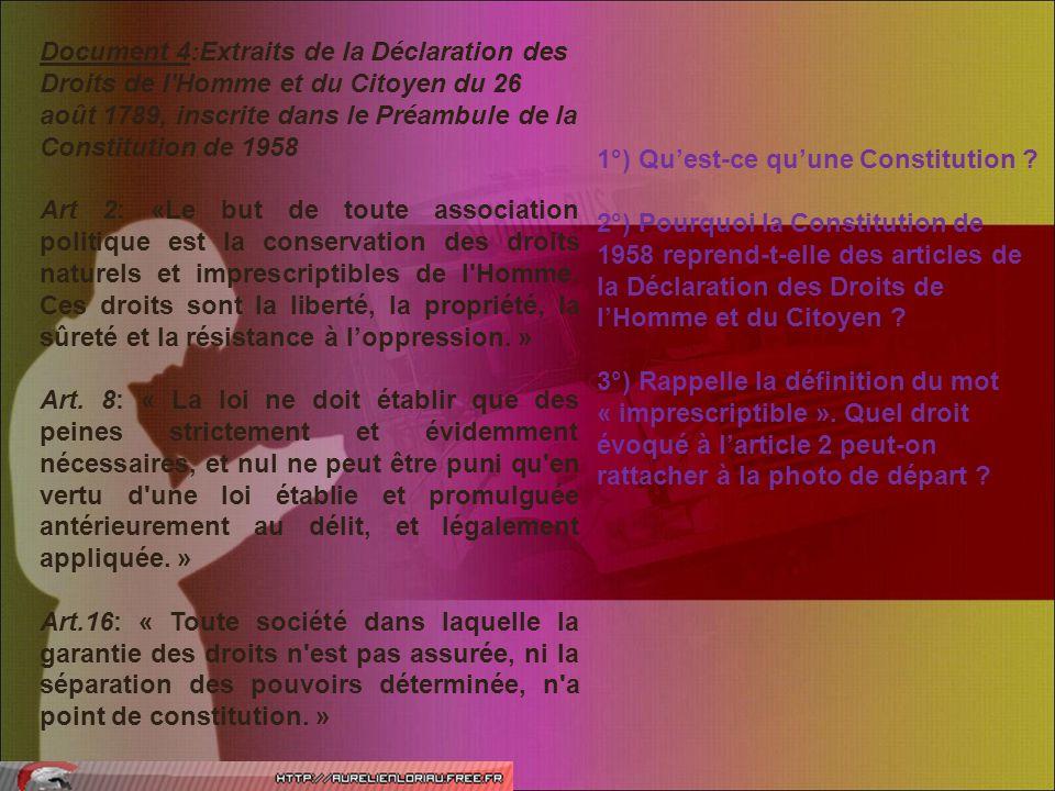 Document 4:Extraits de la Déclaration des Droits de l Homme et du Citoyen du 26 août 1789, inscrite dans le Préambule de la Constitution de 1958