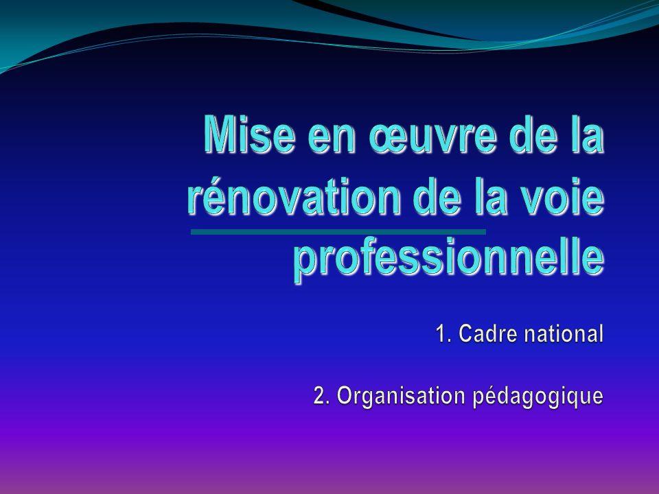 Mise en œuvre de la rénovation de la voie professionnelle 1